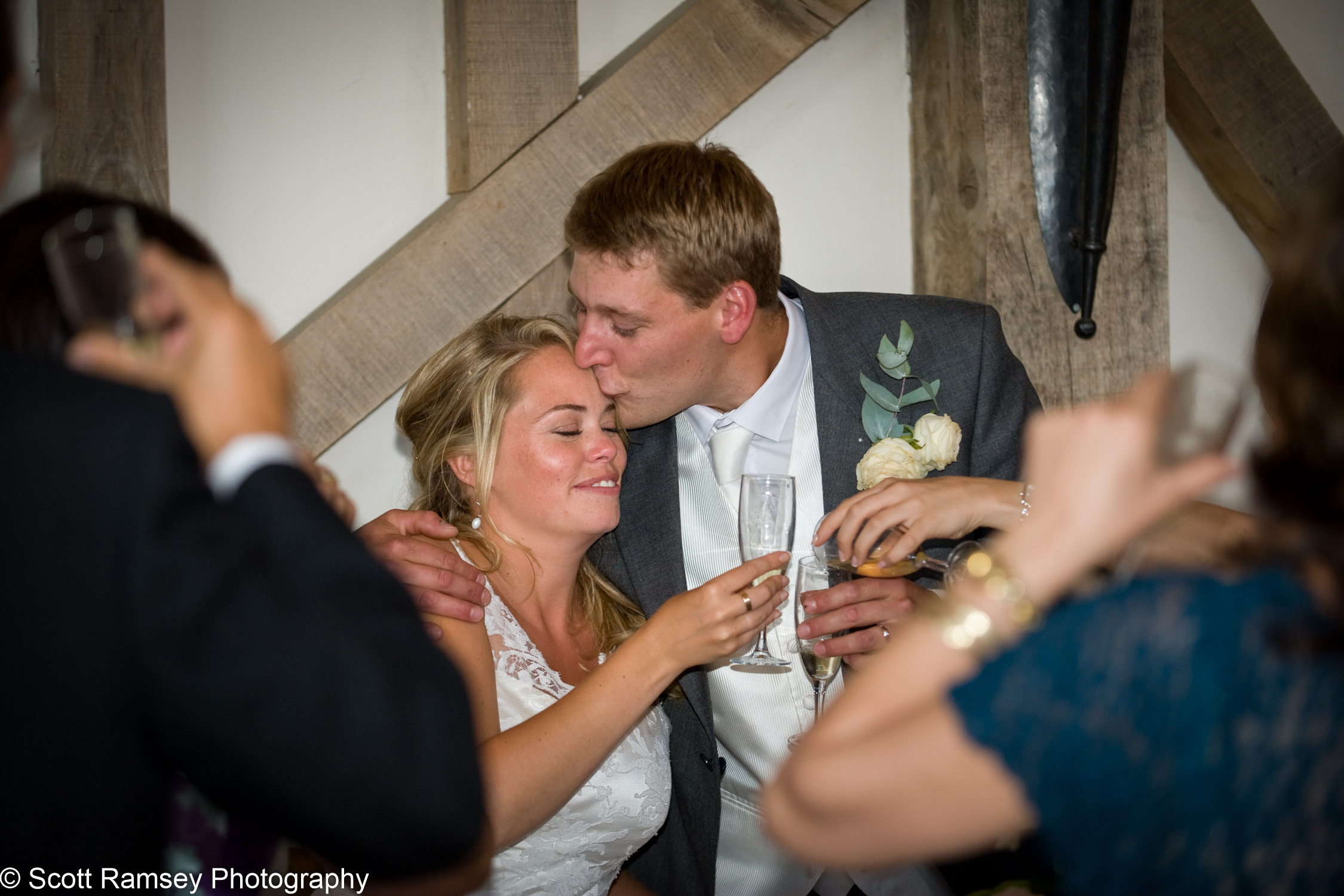 Guests Toast Bride And Groom Gate Street Barn