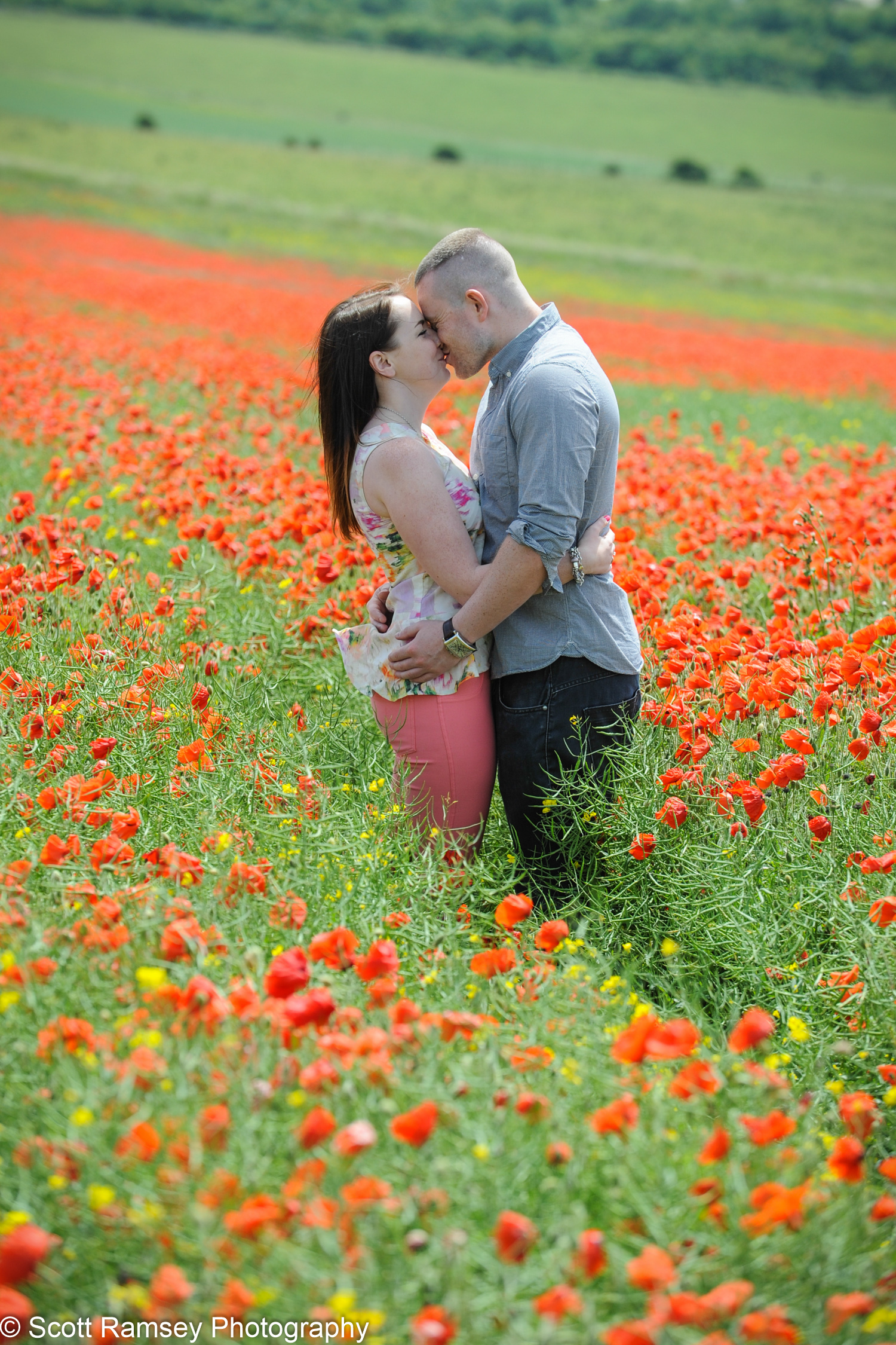 Poppy Field Engagement Photo Kiss