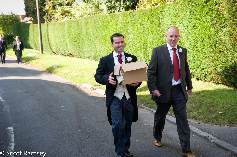 Groom Arrives For His Wedding Surrey
