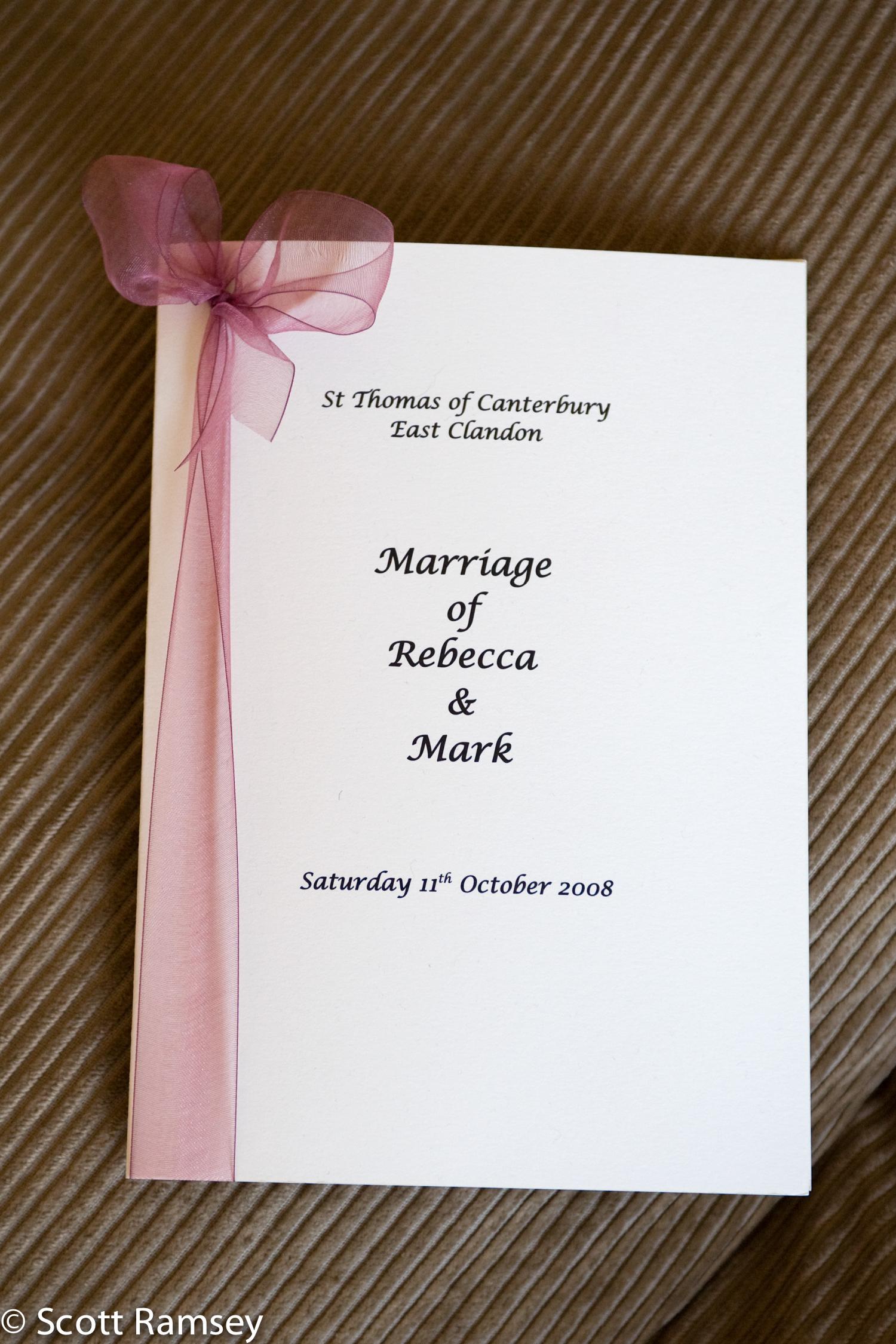 Order Of Service Guildford Wedding