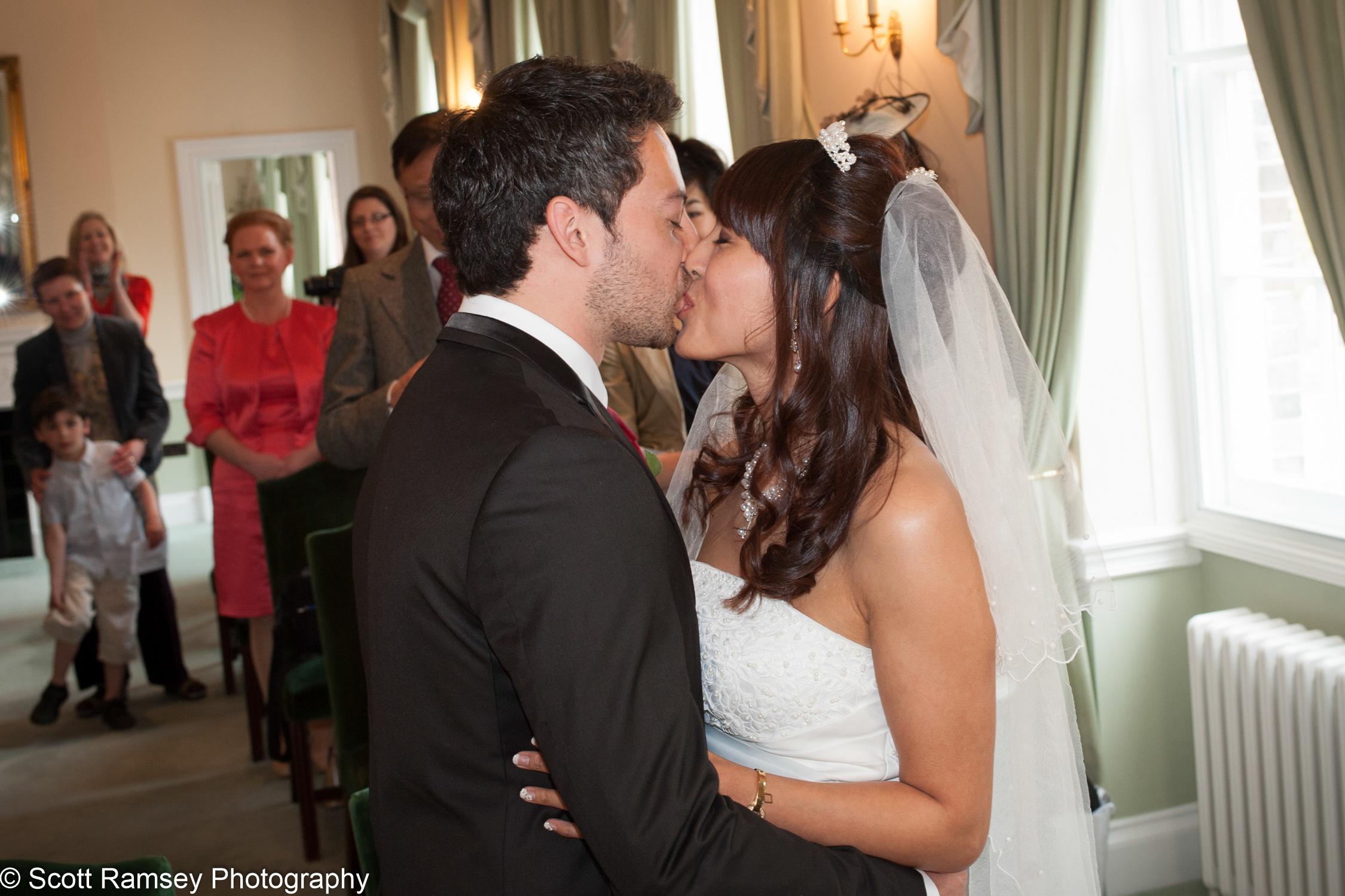 Portsmouth Registry Office Wedding Kiss 040513-18