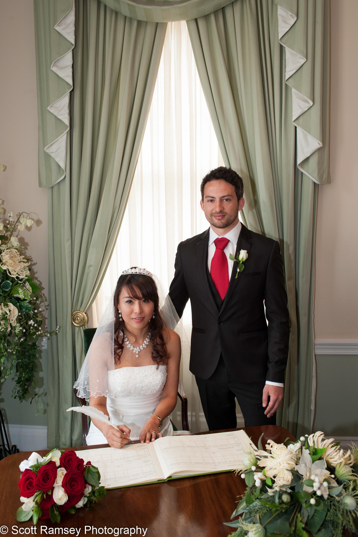 Portsmouth Registry Office Wedding Couple Sign Register 040513-21