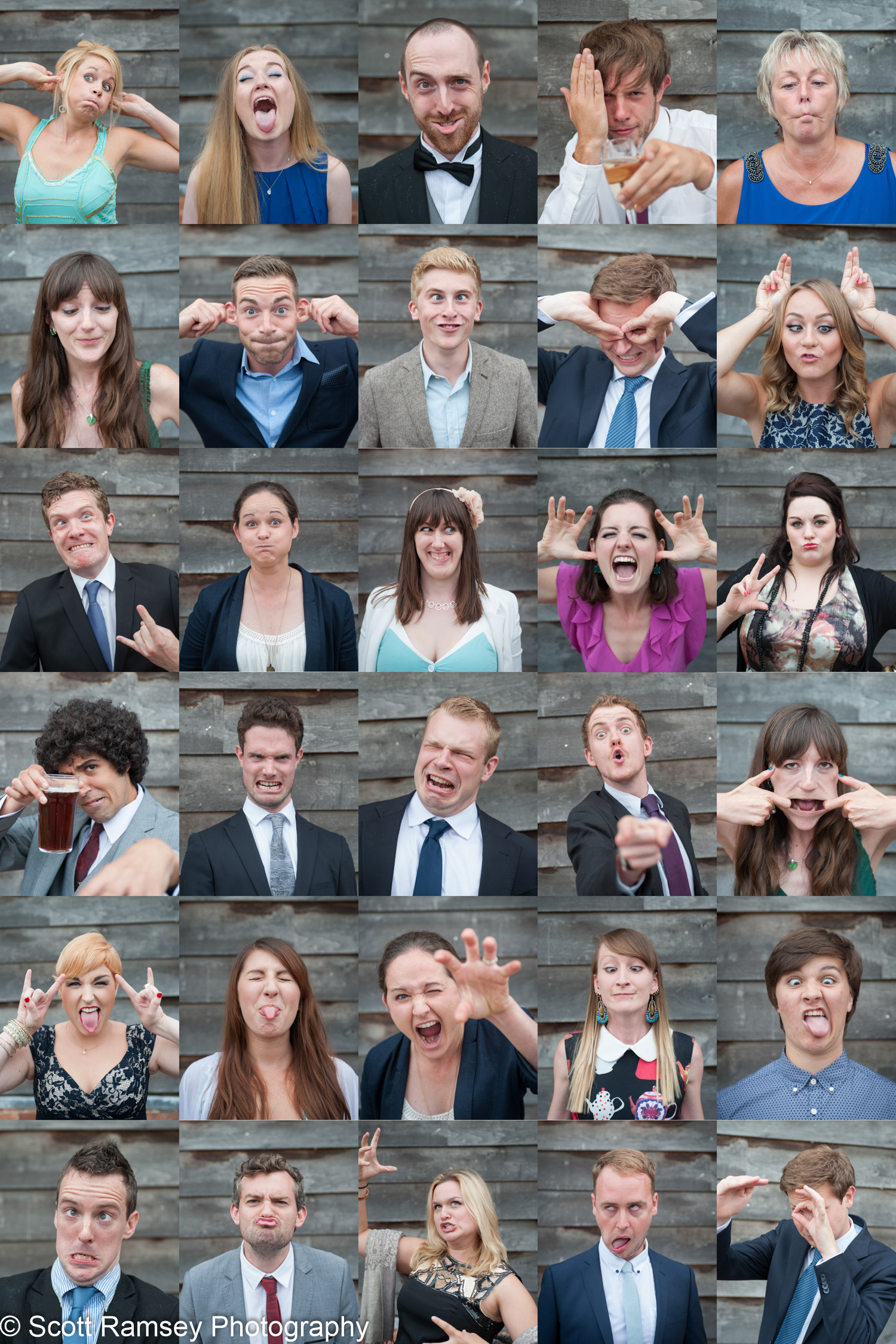 Fun Creative Quirky Surrey Wedding Photography by Scott Ramsey Photography. Get your guests to pull funny faces or strike a silly pose to create some fun wedding photographs.