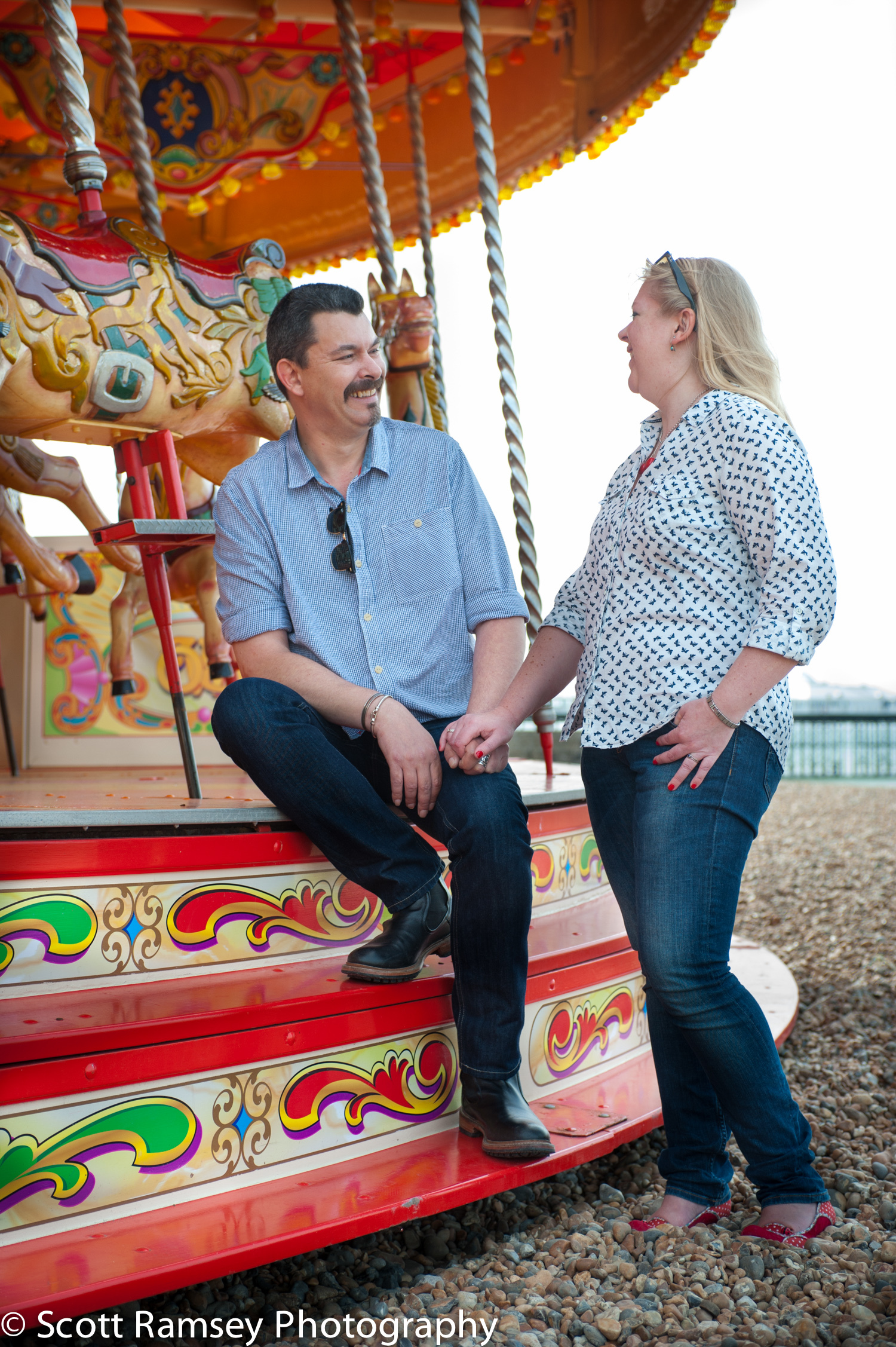 Brighton Carousel Engagement Photograph