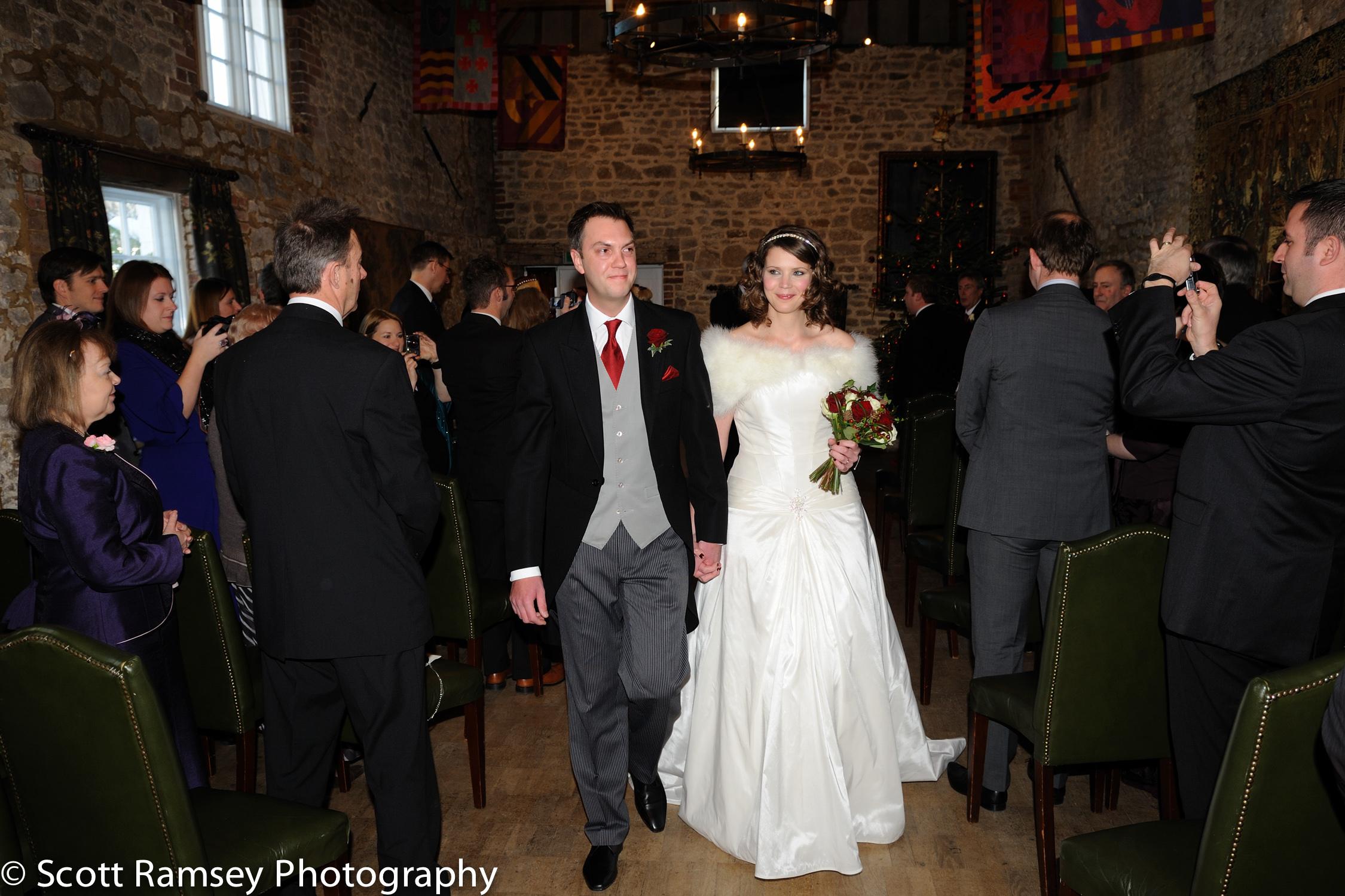 Winter-Wedding-Spread-Eagle-Hotel-Midhurst-Bride-Groom-Walk-Down
