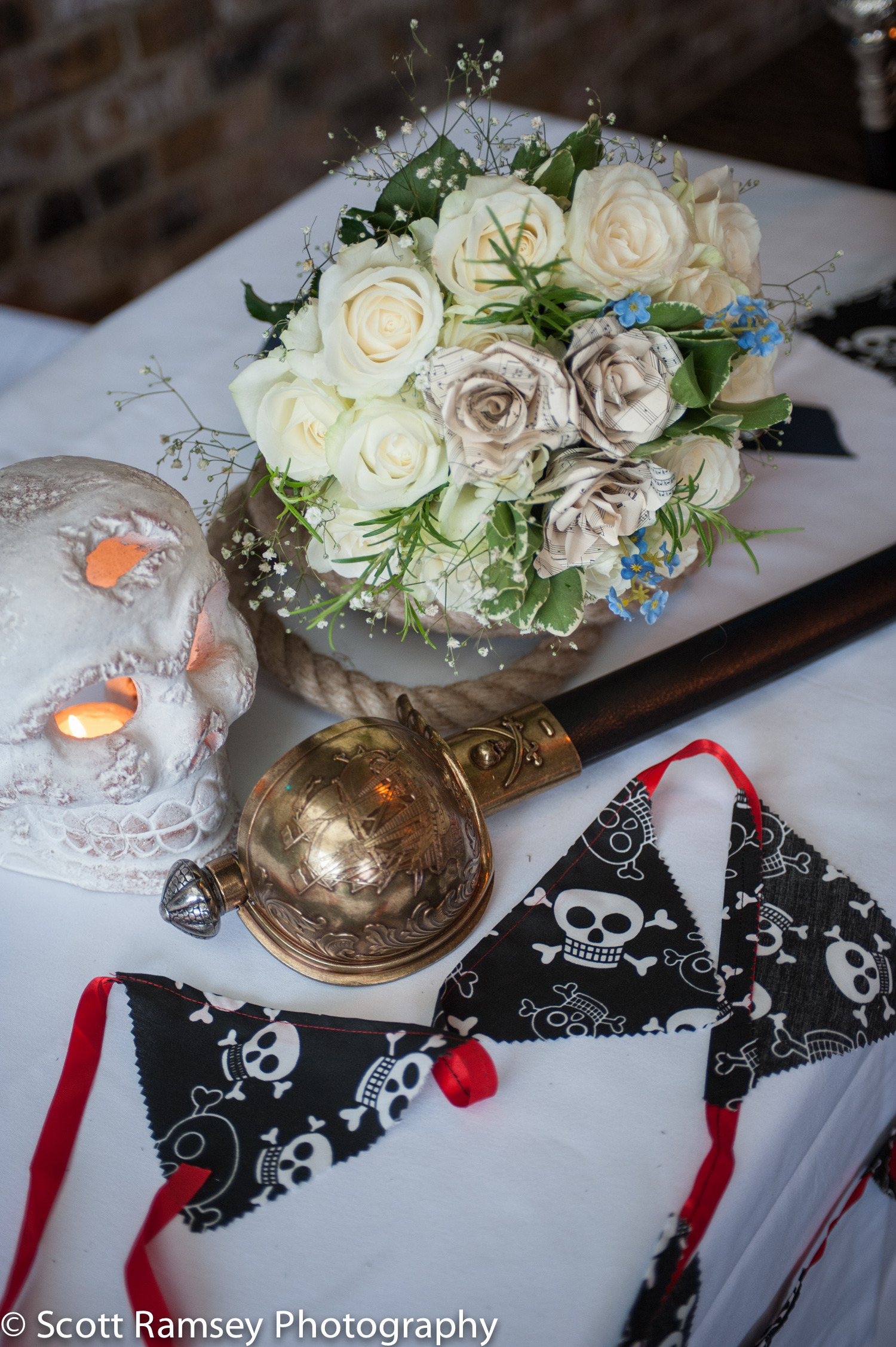 Brighton-Wedding-Photography-Pirate-Theme-Brides-Flowers-Skull-C