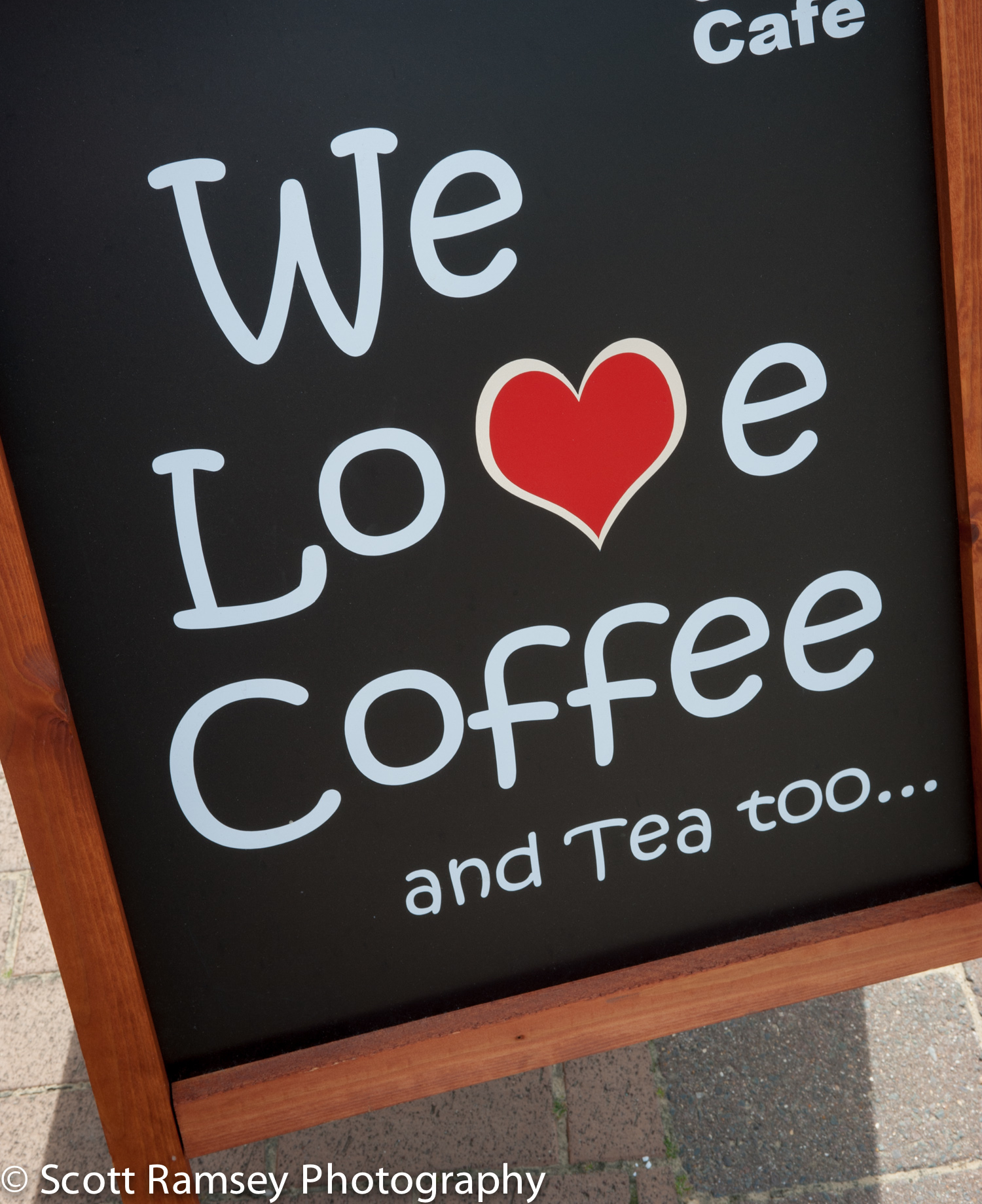We Love Coffee sign outside a coffee shop in Brighton.