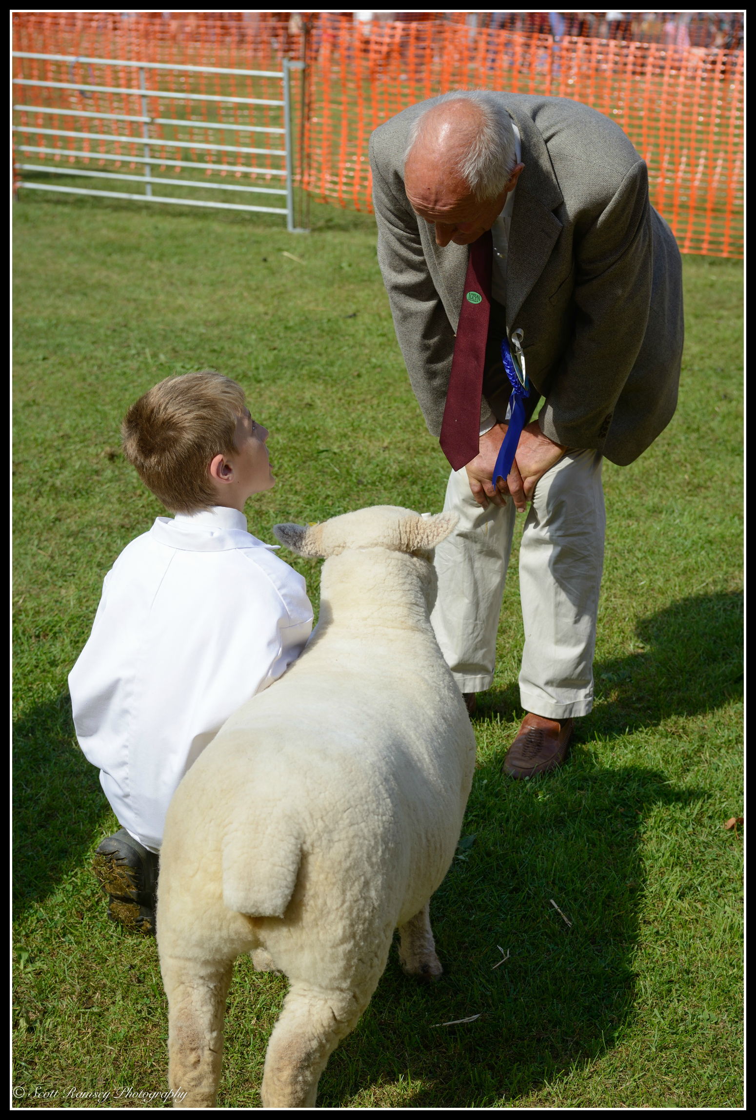 A judge chats to a young boy about his sheep whilst judging takes place in the main arena at the Findon Sheep Fair.