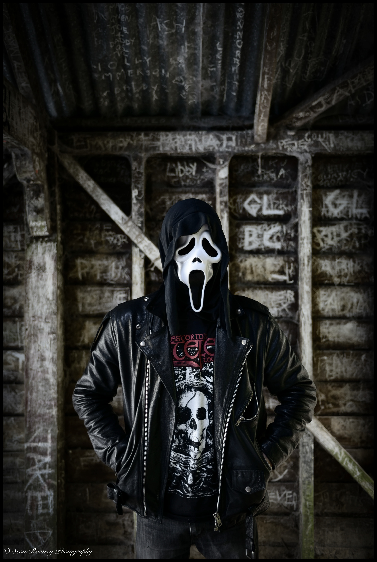 An urban Halloween photo taken in an abandoned boat house. The walls were covered in graffiti and idle for the photo shoot. © Scott Ramsey Photography