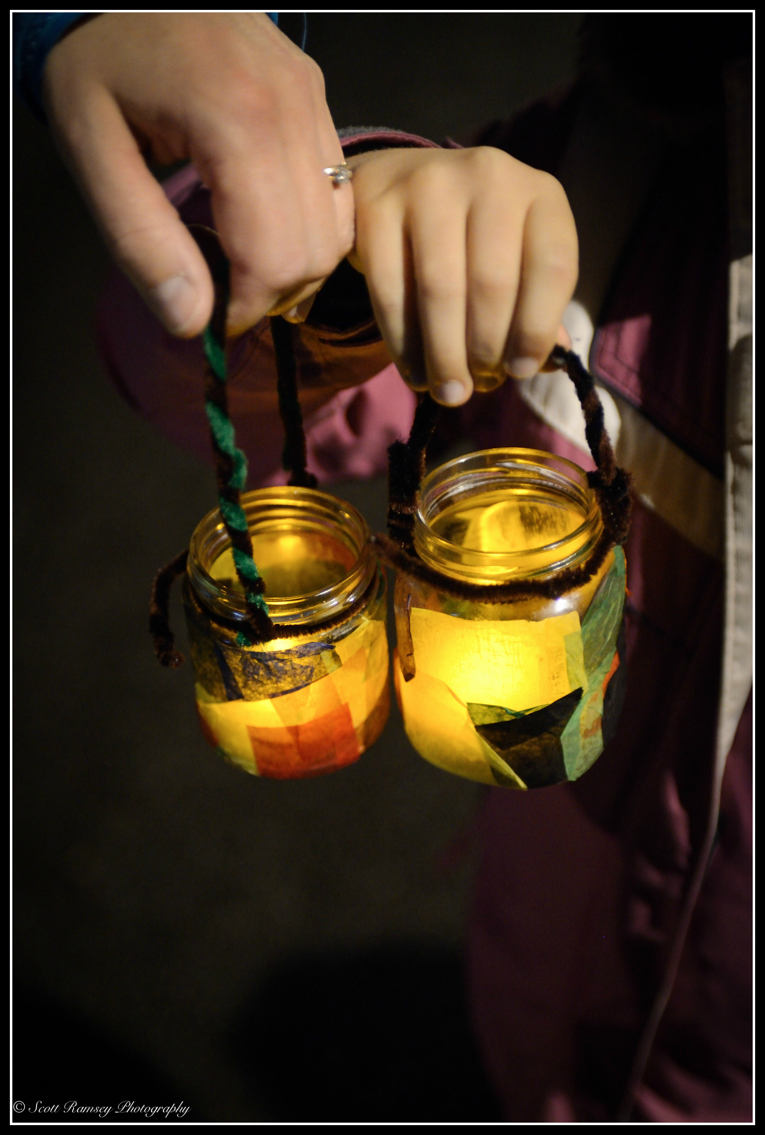 Children's lanterns help light the dark night during the East Preston VillageChristmas celebrations.