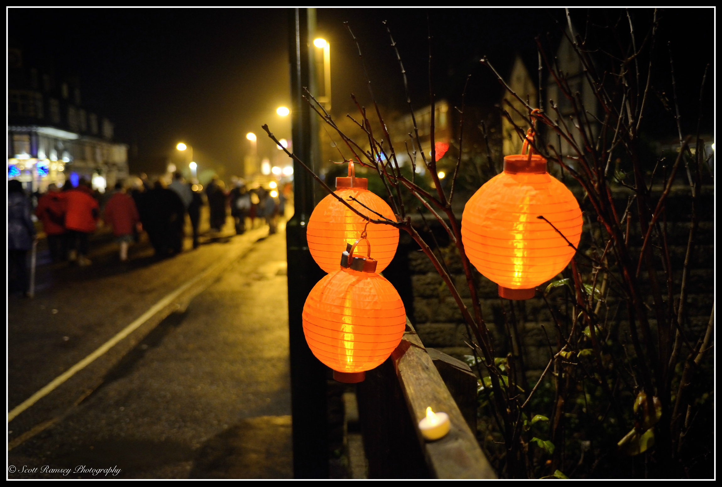 Local residents joined in and helped the East Preston village Christmas celebrations,lanterns hang outside a house in the village.