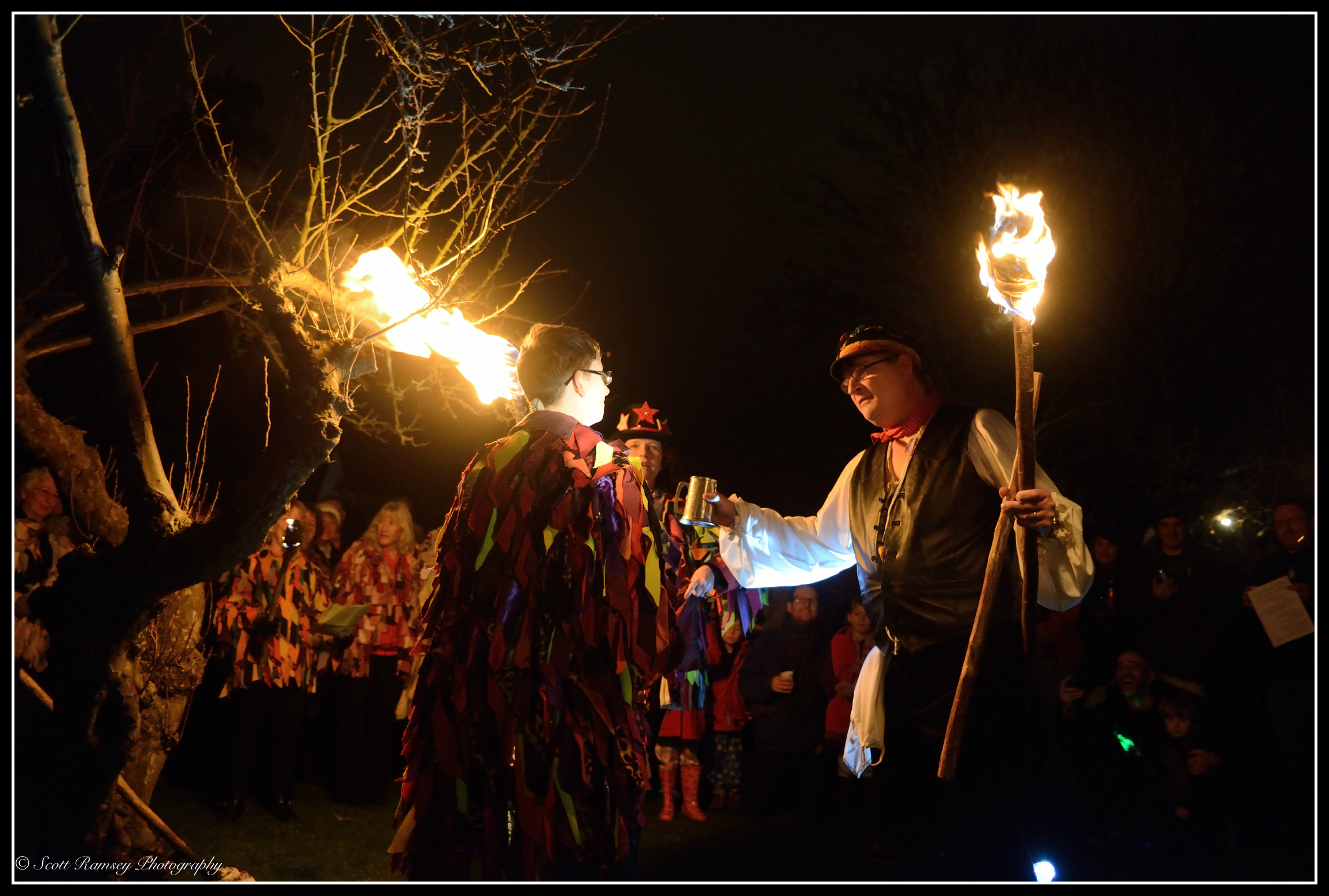In an apple orchard in Tarring village, West Sussex, the wassail takes place.