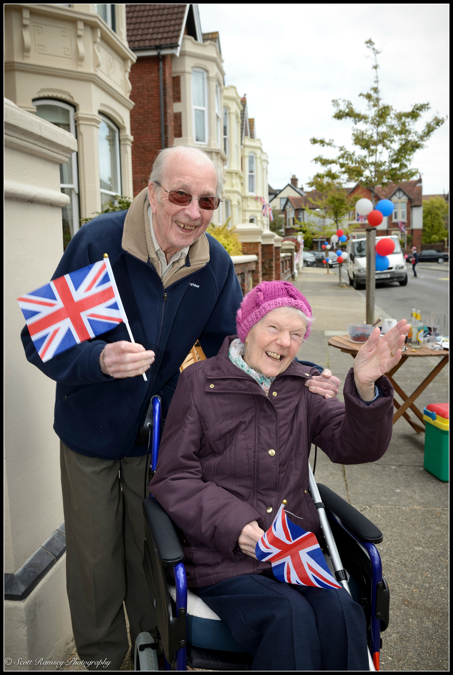 World War 2 veteran Alan Mills aged 92 (he served in the RAF) and his wife Hilda aged 86 enjoy the  VE Day street party  in Southsea, Portsmouth  . © Scott Ramsey Photography.