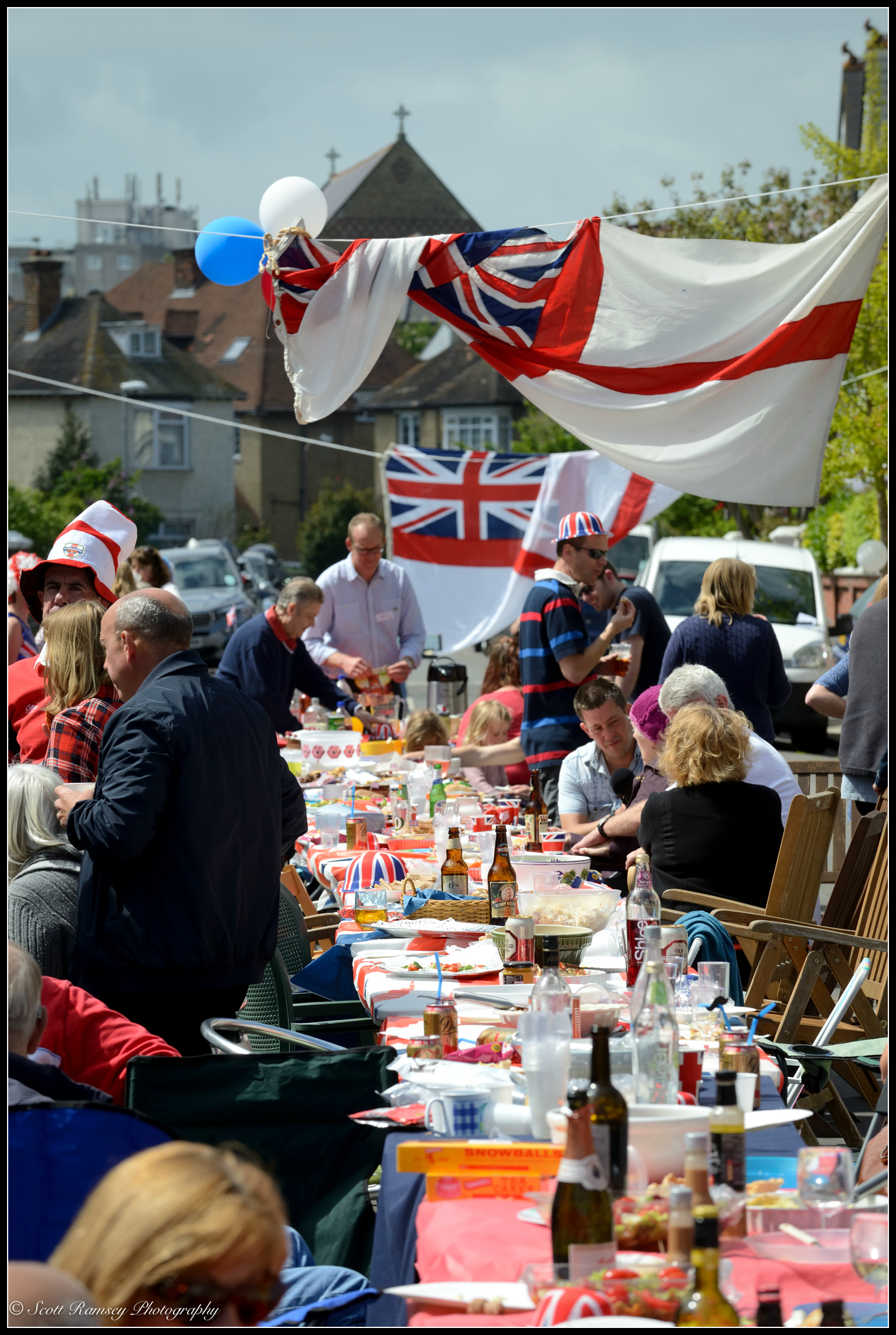 Residents celebrate the 70th anniversary of VE Day in Southsea, UK by holding a street party. © Scott Ramsey Photography.