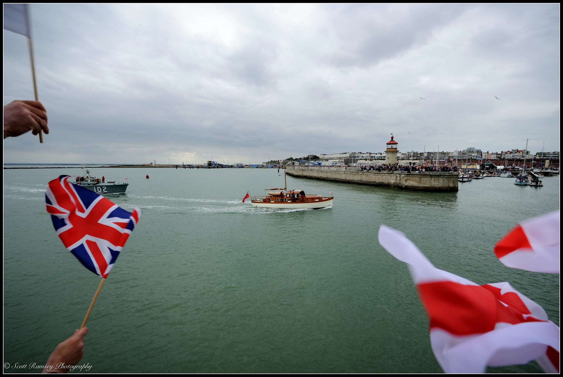 Two of the originalDunkirk Little Ships, the1937 Motor Torpedo Boat 102 and Hilfranora 1935 motor yacht, return to the Royal Harbour Marina Ramsgate, Kent, UKduring a weekend of events to commemorate the 75th anniversary of Operation Dynamo. ©Scott Ramsey Photography