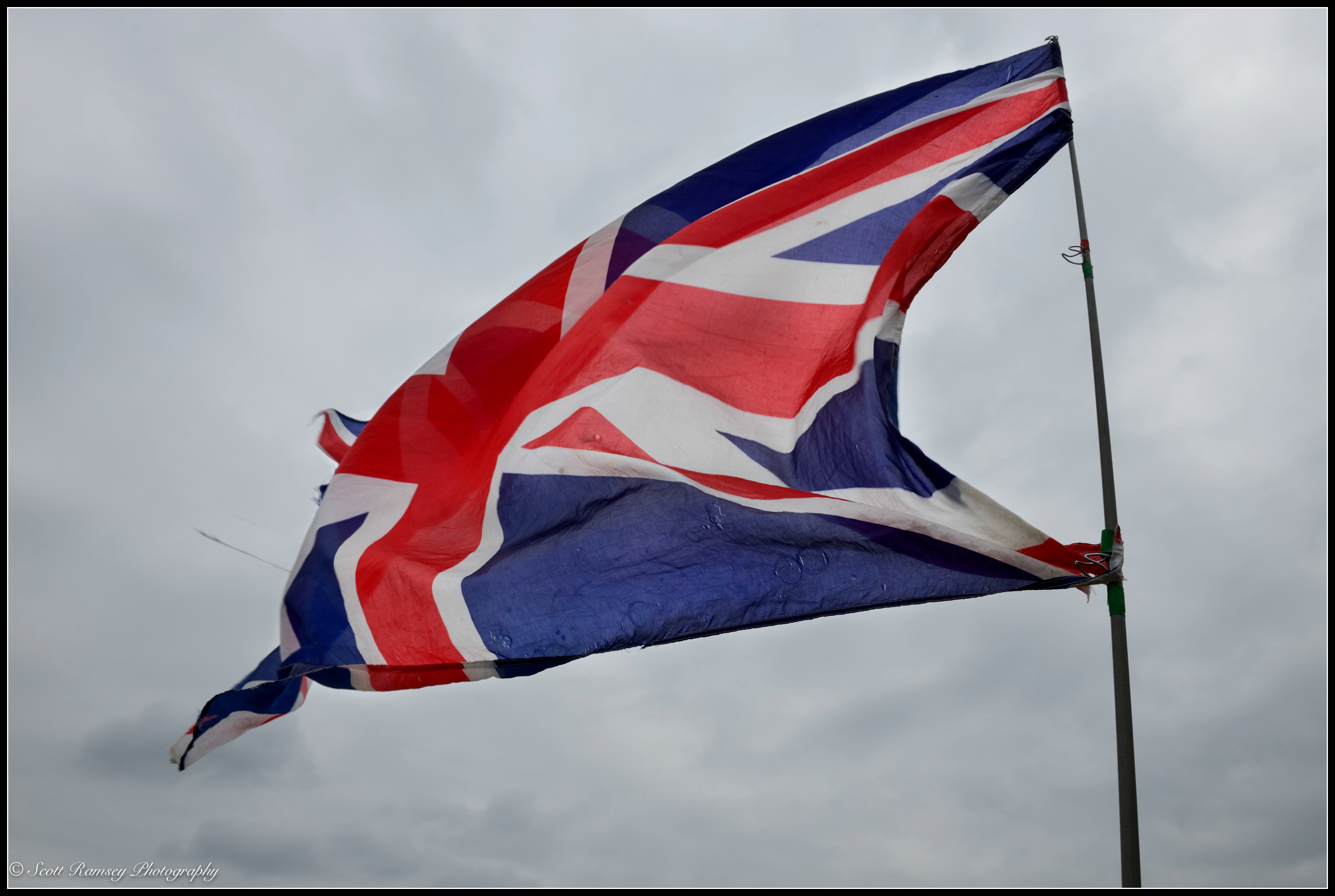 A Union Jack flag flutters in the wind marking the end of75th anniversary of Operation Dynamo in Kent, UK.©Scott Ramsey Photography