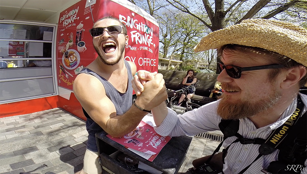 Arm wrestling an Australian acrobat at the Brighton Fringe on my YouTube Channel