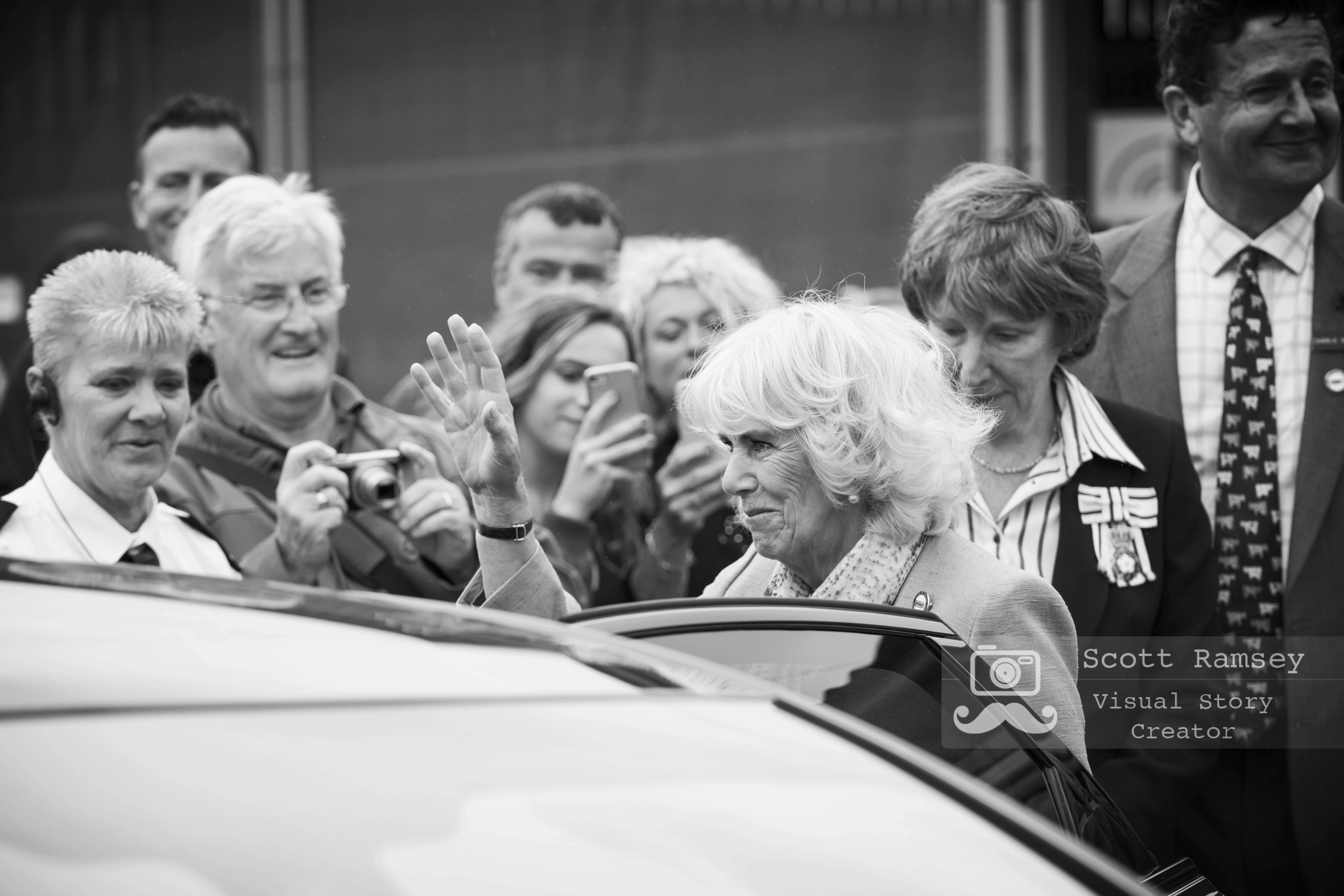 HRH, The Duchess Of Cornwall waves to the crowd as she gets into a car before leaving the 2017 South Of England Show. Photo © Scott Ramsey.
