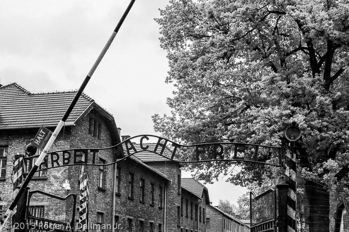 The main gate into Auschwitz.