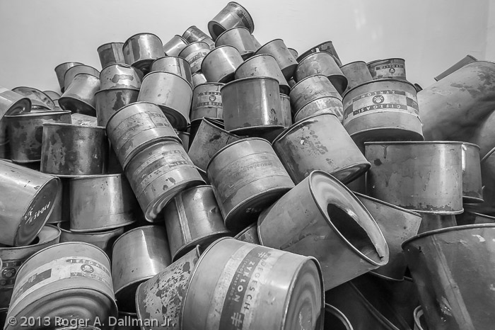 Empty canisters of Zyklon, the poison used in the gas chambers.
