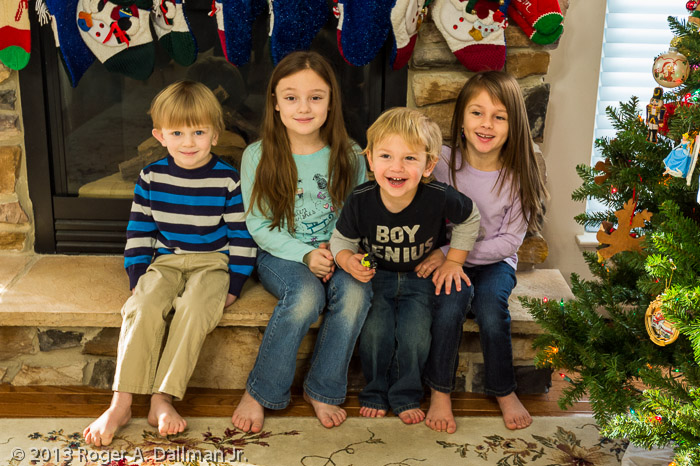 All four grandkids after some of the debris was cleared away.