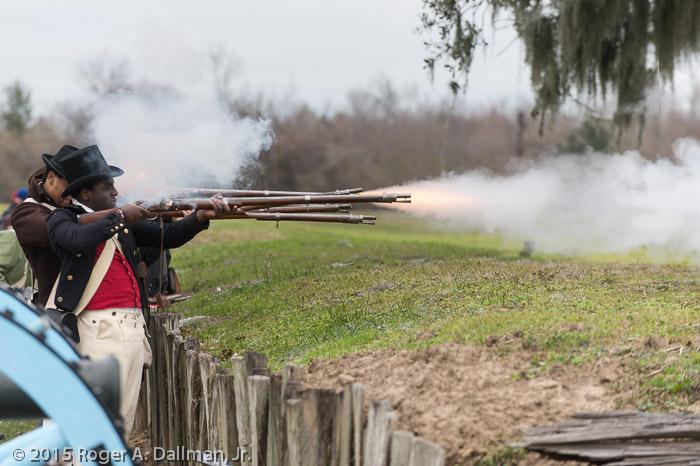 Musket fire at Chalmette Battlefield