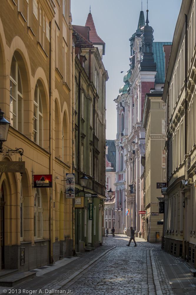 Narrow streets of a medieval town, Poznan, Poland
