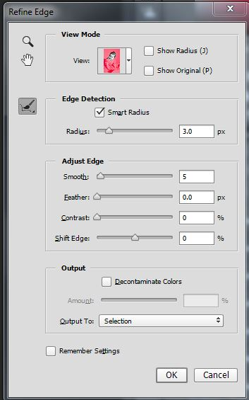 Refine Edge dialog box