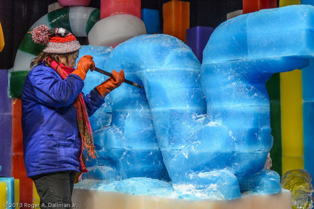 An ice sculptor creating a new piece.