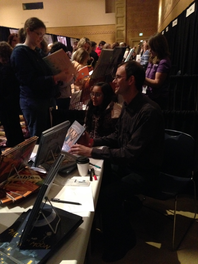 Abraham Schroeder meets a fan at Wordstock