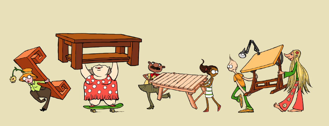 Artwork from Too Many Tables by Abraham Schroeder and illustrated by Micah Monkey.