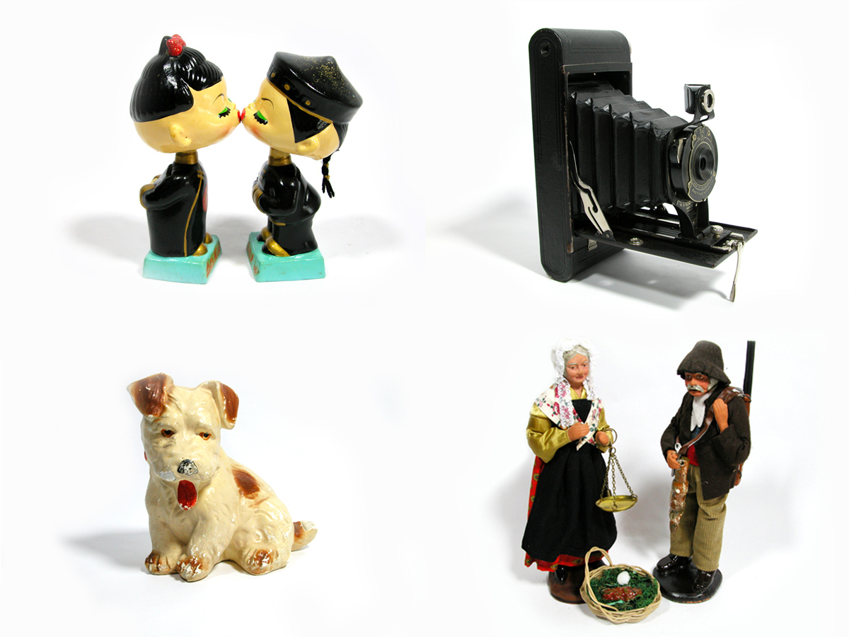 kissing bobblehead dolls, $35 ,  Kodak hawk-eye camera, $75 ,  chalk ware dog, $20 ,  French santon couple, $120