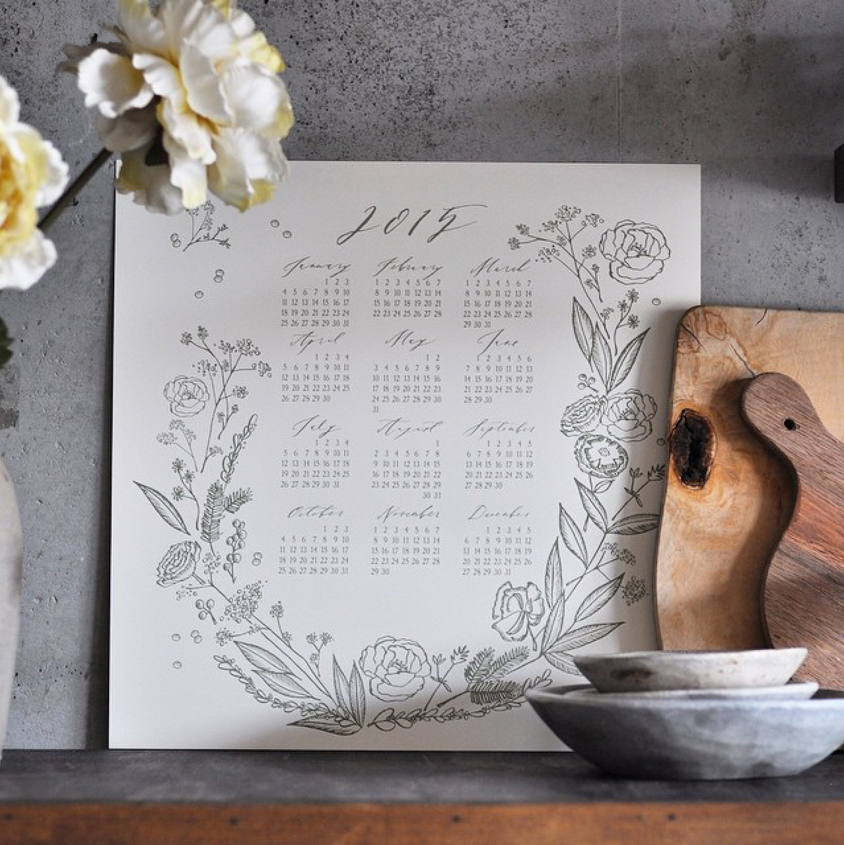 Image and letterpress calendar by Abany Bauer of  Brown Linen Press