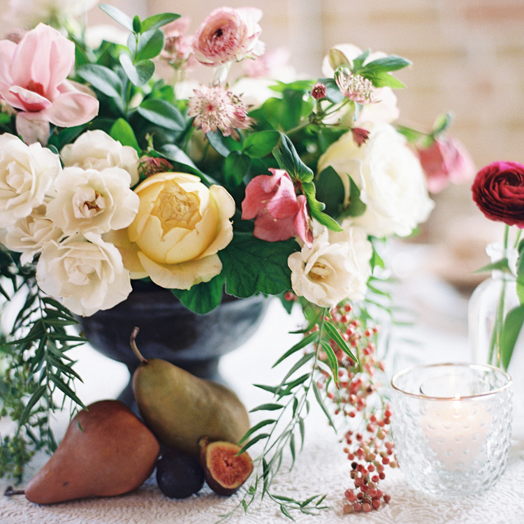 Winter Arrangement of Garden Roses and Berries by Sprout Floral Design
