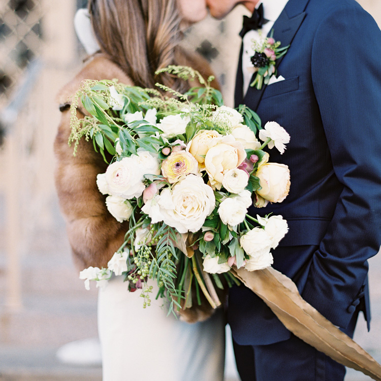 Winter Bouquet with Garden Roses and Ranunculus by Sprout Floral Design