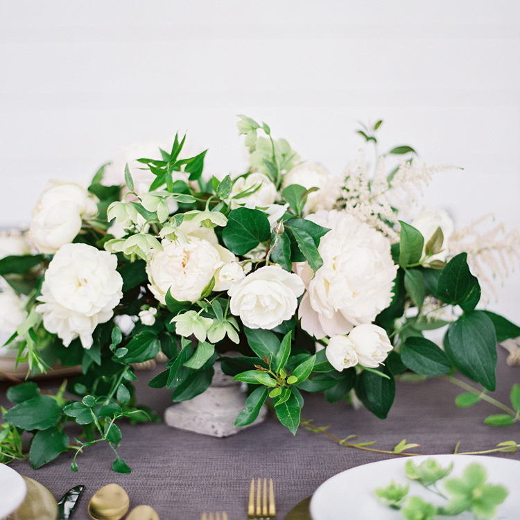 White Peony and Garden Rose Arrangement with Hellebores by Sprout Floral Design