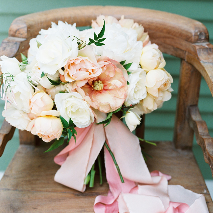 Spring Peony and Garden Rose Bouquet by Sprout Floral Design