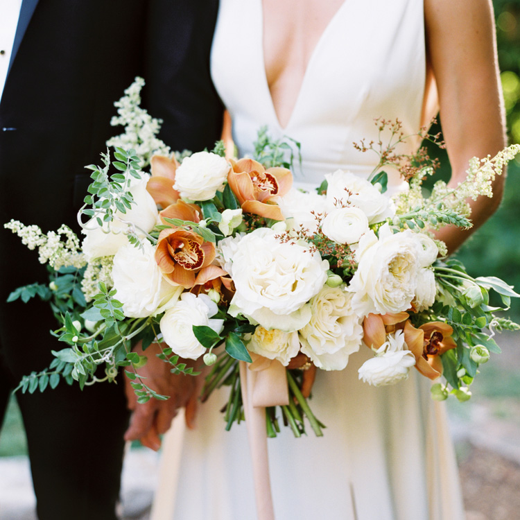 Summer Garden Rose and Orchid Bouquet by Sprout Floral Design