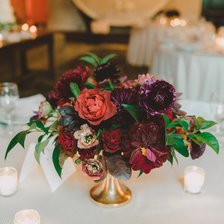 Fall Centerpiece in Deep Rich Colors by Sprout Floral Design