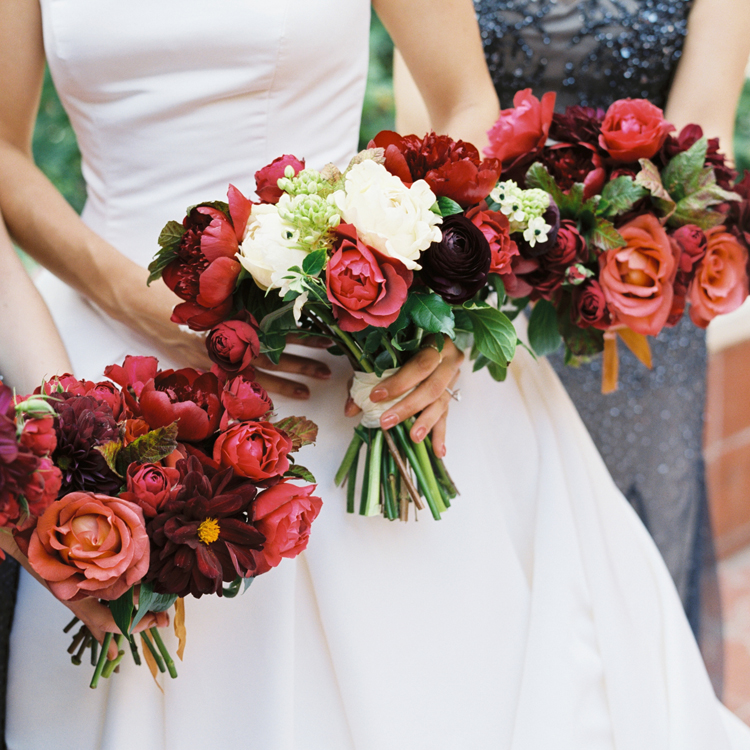 Fall Bouquets in Dramatic Colors by Sprout Floral Design