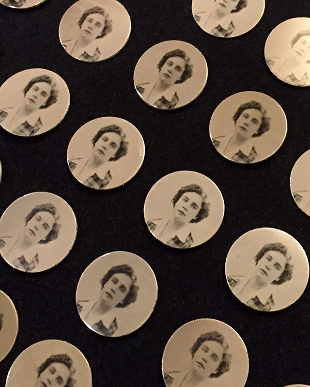 Made these tintype mourning pins for my family featuring a photo of my grandma when she was young. 💙 #tintype #babe #mourningjewelry