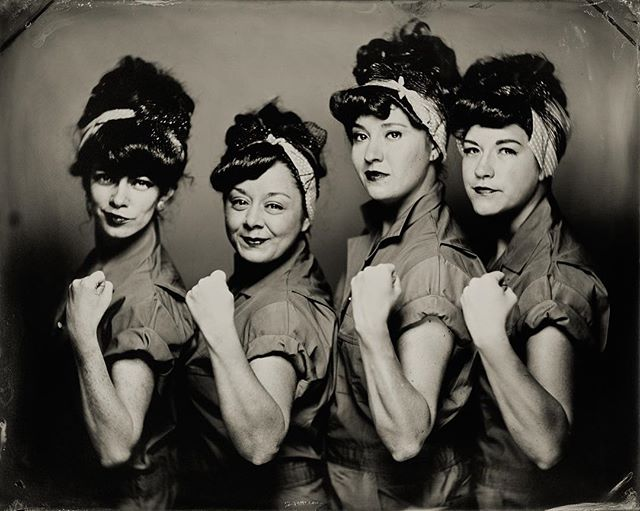 The @chifferobetropigals came to @penumbratintypestudio yesterday in their Rosie the Riveter outfits and really warmed our hearts on an otherwise very unsettling day. I cannot stand all of the hateful rhetoric spawned from this election but I will stand together with all those who continue to fight for love and unity for all people. 💙  Tintype created as a joint effort with @geoffreyberliner 🙌🏻