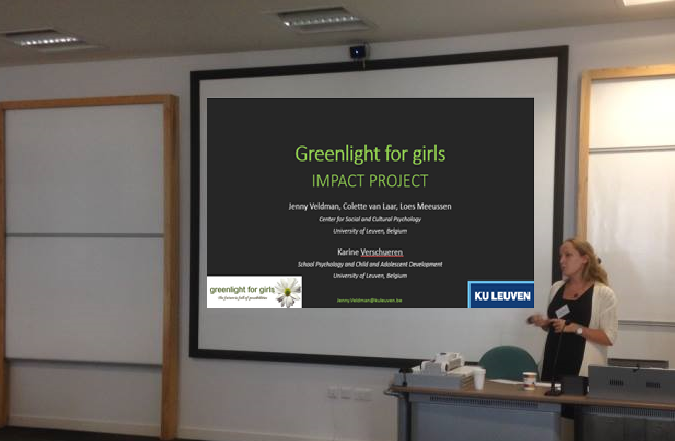 Jenny Veldman, PhD candidate and lead researcher on the Impact Project at KU Leuven, presents at science conference on gender & STEM in Newcastle-upon-Tyne, UK in July 2016
