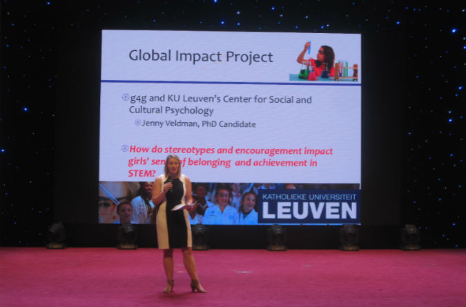 Alexaundra Zanella, g4g Project Coordinator, presents the Impact Project at the Big Bang Theory Scientific Competition at Sichuan University in Chengdu, China in July 2016