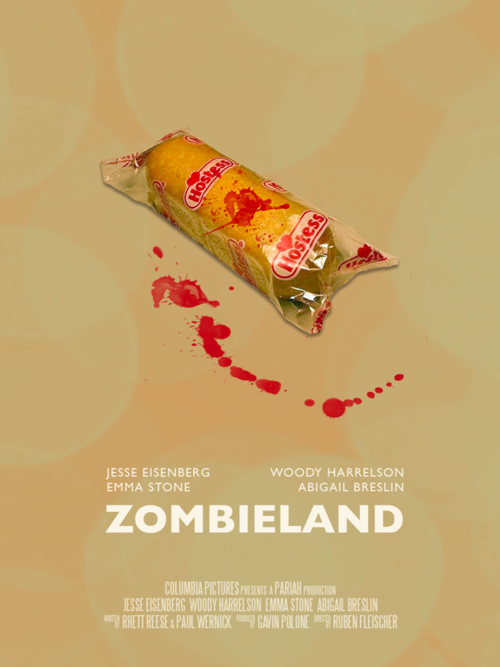 Movie poster for Zombieland featuring THE TWINKIE!