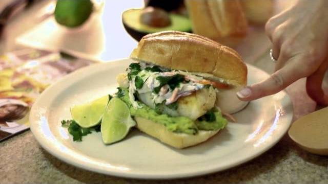 Baja Fish Taco Tortas with Smoky Cilantro Slaw.