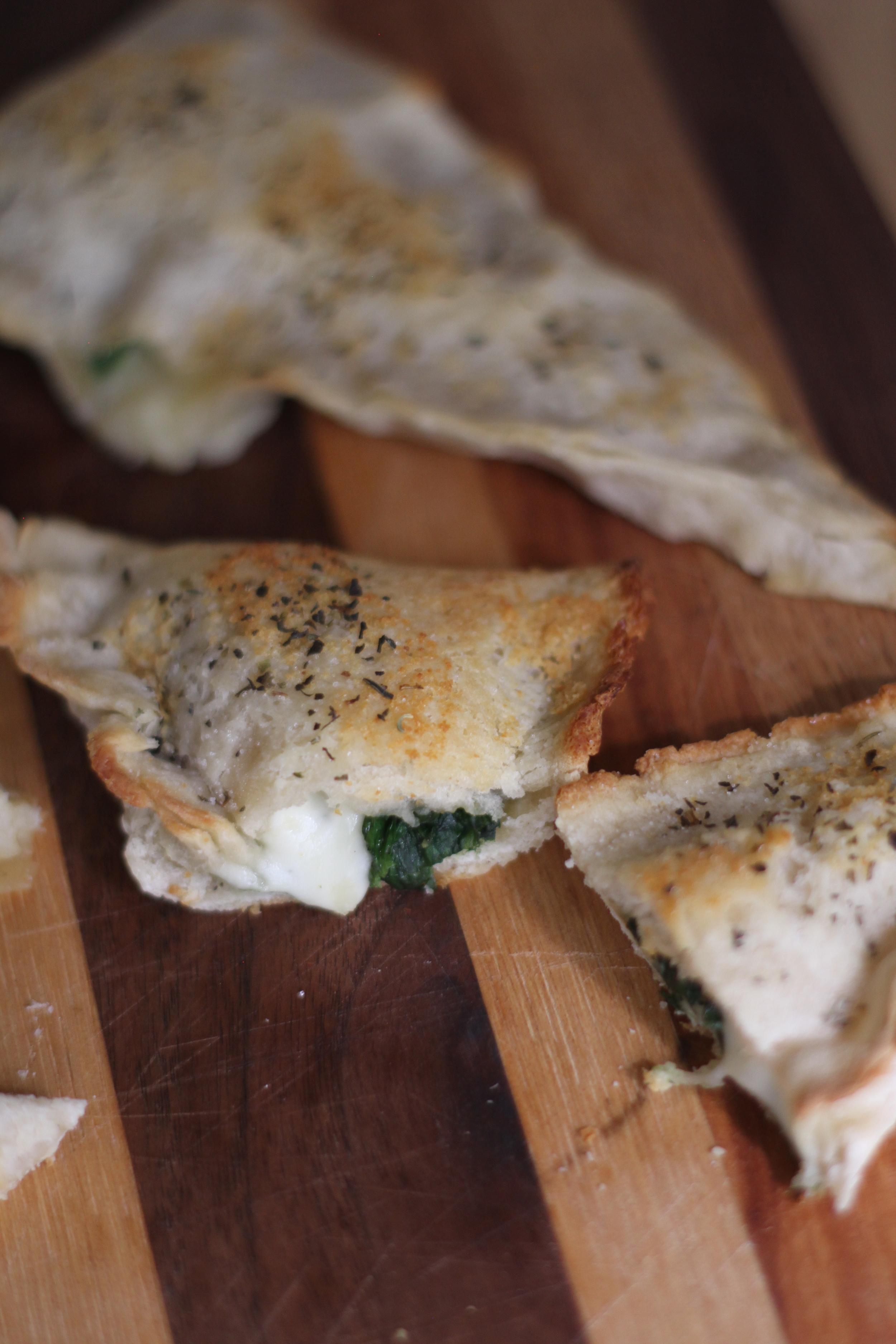 Garlic spinach and ooey gooey mozzarella! Delicious!