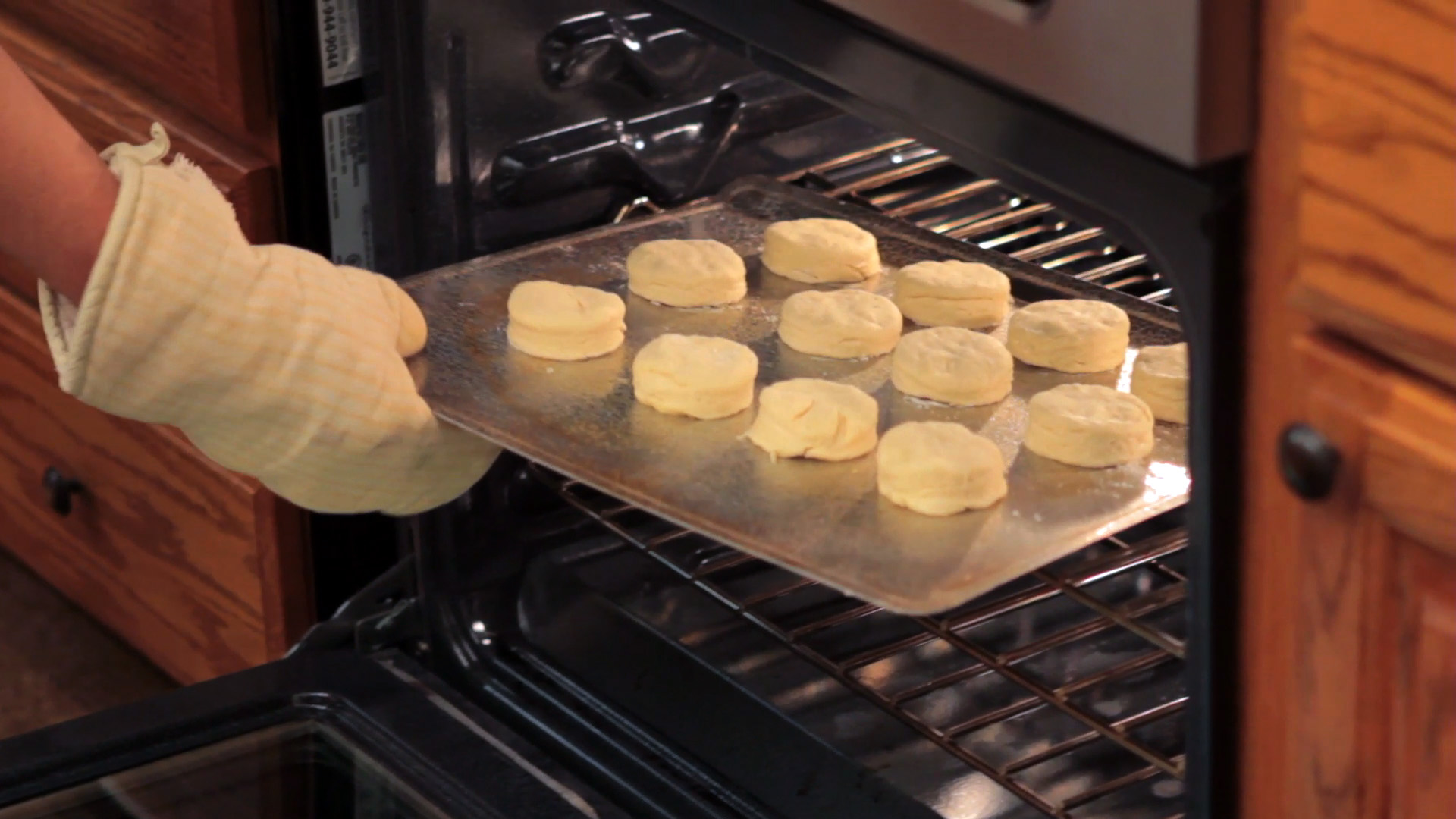 Biscuits going in to the oven.