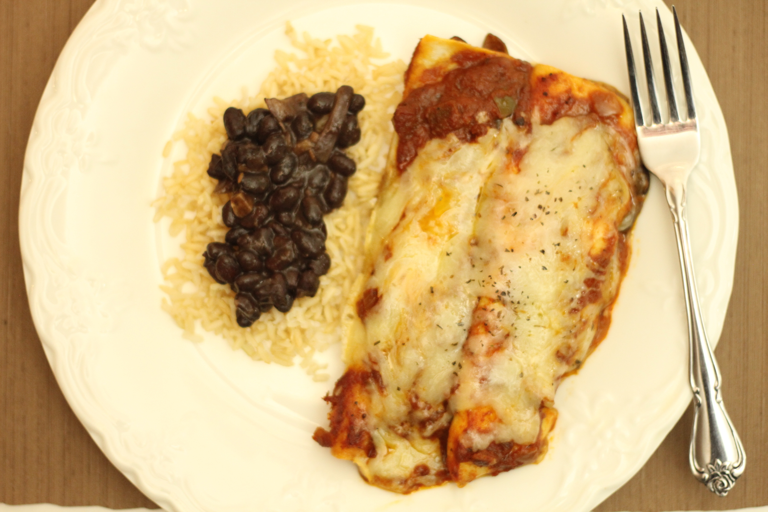 Black Bean and Cheese Enchilads