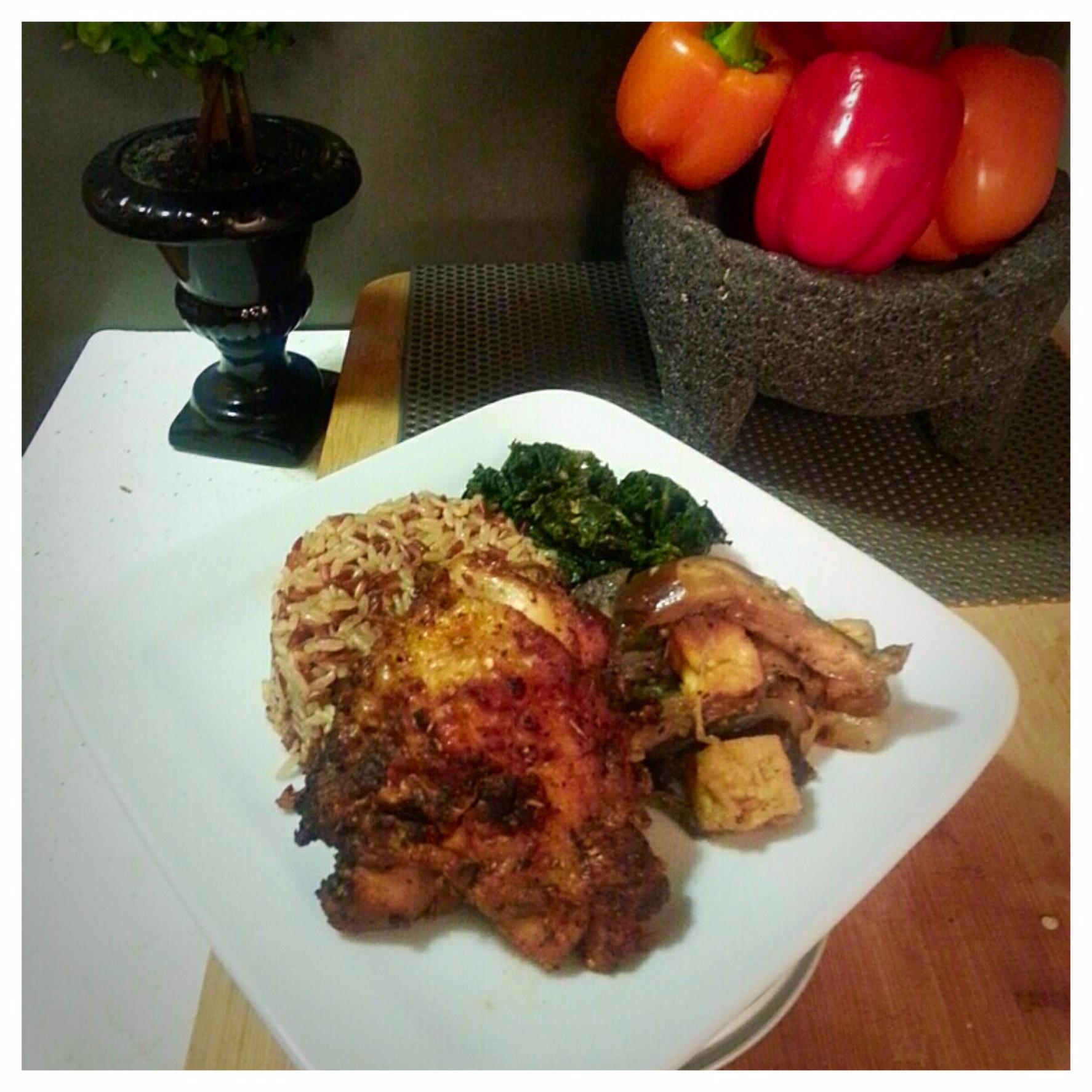 Roasted Chicken with Sautéed Kale and Eggplant Tofu Stir Fry